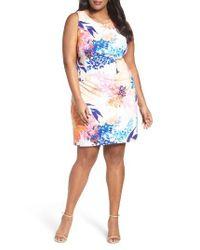 Ellen Tracy | Multicolor Floral Ponte Sheath Dress | Lyst