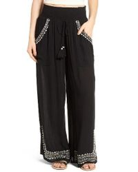 Band Of Gypsies | Black Embroidered Wide Leg Pants | Lyst