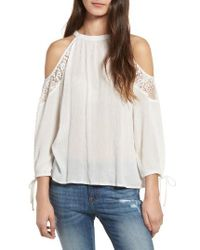 Band Of Gypsies | White Crochet Cold-shoulder Top | Lyst