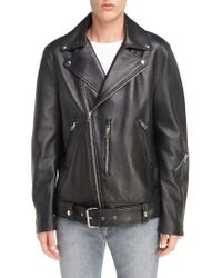Acne | Black Nate Belted Leather Moto Jacket | Lyst