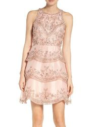 Adrianna Papell | Pink Scallop Dress | Lyst