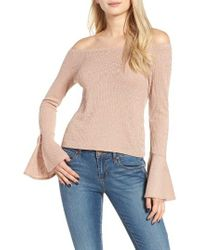 Mimi Chica | Pink Ribbed Off The Shoulder Top | Lyst
