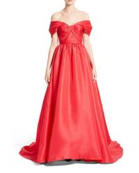 Marchesa | Red Silk Gazar Sculpted Off The Shoulder Gown | Lyst