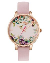 Ted Baker   Pink Round Leather Strap Watch   Lyst