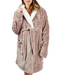 TOPSHOP - Multicolor Teddy Hooded Chevron Maternity Robe - Lyst