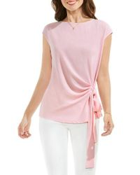 Vince Camuto | Pink Mixed Media Tie Front Blouse | Lyst