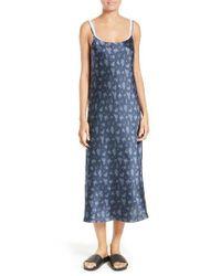 VINCE | Blue Floral Print Silk Slipdress | Lyst
