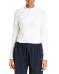 MILLY - White Italian Fisherman Knit Sweater - Lyst