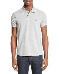 Moncler   Gray Tipped Polo for Men   Lyst