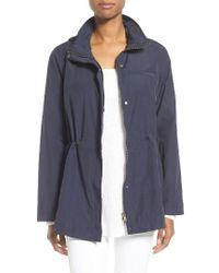 Eileen Fisher | Blue Organic Cotton & Nylon Hooded Jacket | Lyst