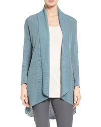 Eileen Fisher | Blue Tencel Drape Front Cardigan | Lyst