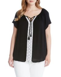 Karen Kane - Black Lace Trim Split Neck Top - Lyst