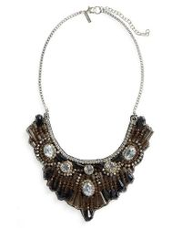 TOPSHOP | Brown Crystal & Bead Bib Necklace | Lyst