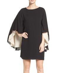 Halston Heritage | Black Cape Sleeve Shift Dress | Lyst