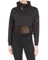 Ivy Park | Black Mesh Panel Funnel Sweatshirt | Lyst