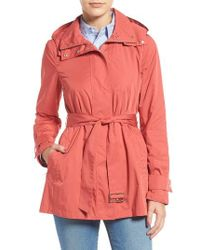 Cole Haan | Packable Belted Rain Coat, Red | Lyst