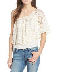 Ella Moss | Natural Trello Lace One-shoulder Top | Lyst