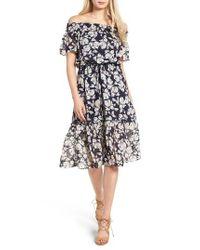 Moon River | Blue Floral Print Off The Shoulder Dress | Lyst
