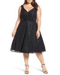 Mac Duggal | Black Embellished Lace Cocktail Dress | Lyst