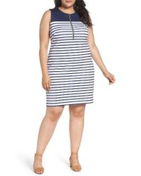MICHAEL Michael Kors | Blue Norwood Stripe Sheath Dress | Lyst