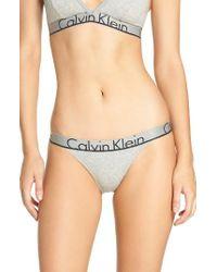 Calvin Klein | Gray Logo Cotton Tanga | Lyst