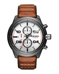 DIESEL - Multicolor Diesel Padlock Chronograph Leather Strap Watch for Men - Lyst