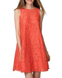 Donna Morgan | Red Floral Lace Swing Dress | Lyst