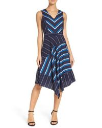 Adelyn Rae | Blue Stripe Fit & Flare Dress | Lyst