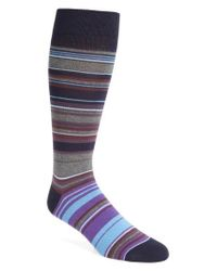Calibrate - Blue Tonal Multistripe Socks for Men - Lyst