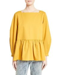 Tibi | Yellow Satin Poplin Peplum Top | Lyst