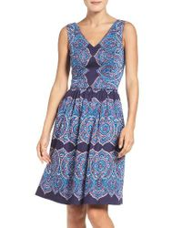 Maggy London   Blue Feather Print Fit & Flare Dress   Lyst