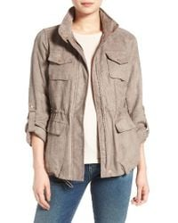 Vince Camuto | Brown Faux Suede Utility Jacket | Lyst