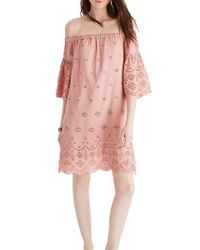 Madewell | Pink Eyelet Off The Shoulder Dress | Lyst