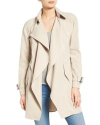 Kensie | Natural Belted Drapey Trench Coat | Lyst