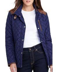 Lauren by Ralph Lauren   Blue Faux Leather Trim Quilted Jacket   Lyst