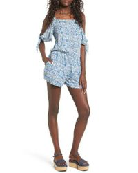 Mimi Chica | Blue Mimichica Tie Sleeve Cold Shoulder Romper | Lyst