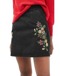 TOPSHOP | Black Embroidered Denim A-line Skirt | Lyst