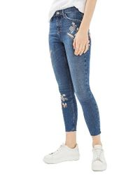 TOPSHOP Blue Moto Jamie Embroidered Skinny Jeans