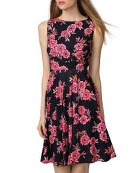 Donna Morgan | Blue Floral Jersey Fit & Flare Dress | Lyst