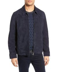 Ted Baker Blue Lazer Collared Suede Jacket for men