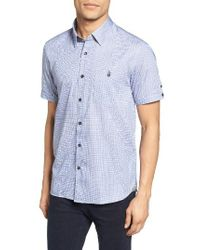Ted Baker | Blue Lorenze Extra Trim Fit Mini Check Sport Shirt for Men | Lyst
