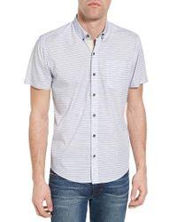 W.r.k. | Blue Reworked Mini Stripe Trim Fit Sport Shirt for Men | Lyst