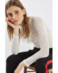 TOPSHOP | White Polka Dot Lace Bodysuit | Lyst