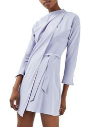 TOPSHOP | Purple Drape Neck Dress | Lyst