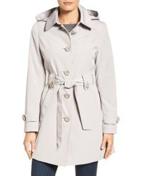 Gallery | Natural Silk Look Belted Trench Coat | Lyst