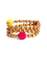 BaubleBar | Brown Grenada Pompom Stretch Bracelet | Lyst
