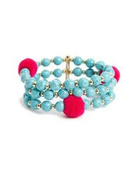 BaubleBar | Blue Grenada Pompom Stretch Bracelet | Lyst