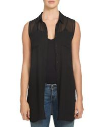 1.STATE | Black Sheer Yoke Sleeveless Tunic | Lyst