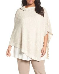 Eileen Fisher | Natural Organic Linen & Cotton Poncho | Lyst