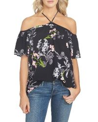 1.STATE | Black Floral Print Blouse | Lyst